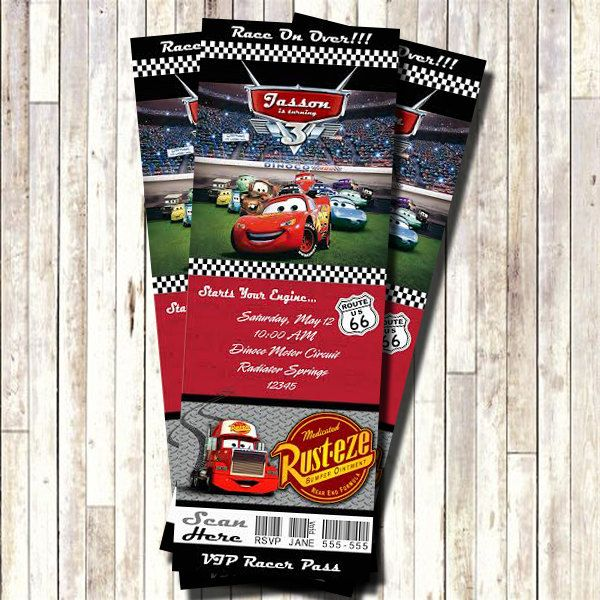Cars Ticket Invitation Lightning Mc Queen Printable Ticket Style - printable ticket invitations