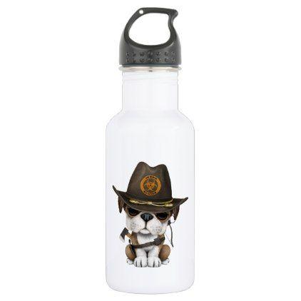 #Cute Bulldog Puppy Zombie Hunter Stainless Steel Water Bottle - #bulldog #puppy #bulldogs #dog #dogs #pet #pets