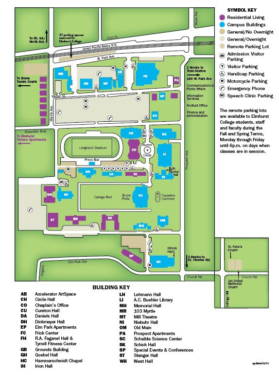 Illinois College Campus Map.Elmhurst College Campus Map Elmhurst College