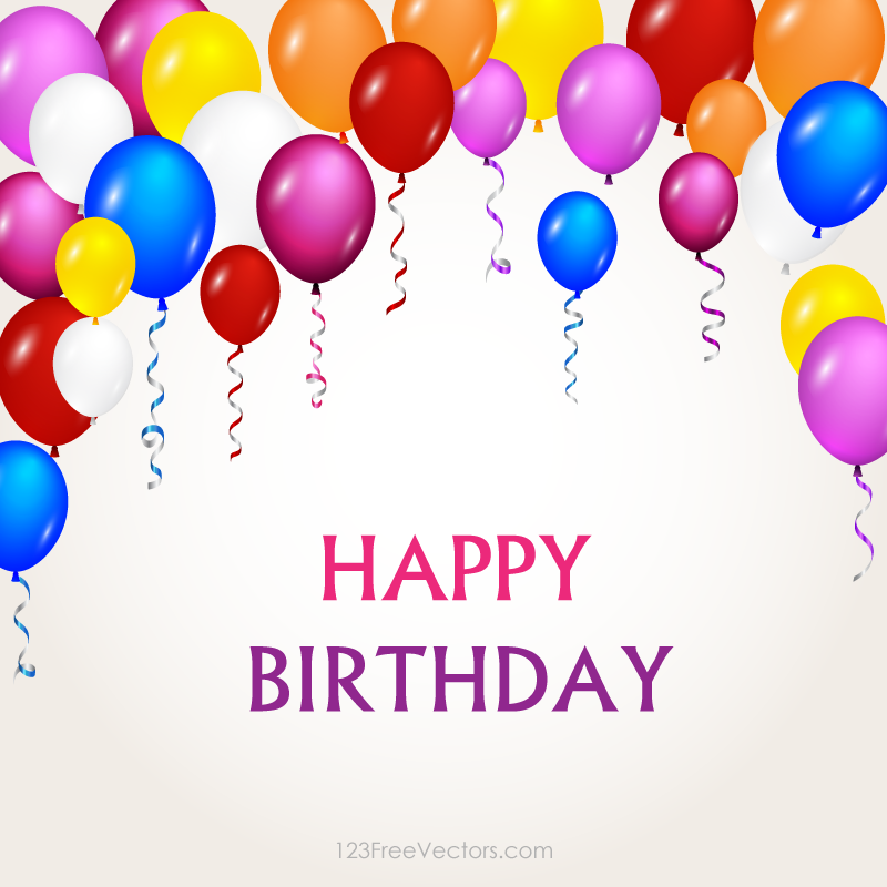 Colorful Happy Birthday Balloons Vector Background Image  Free Vectors  Pin...