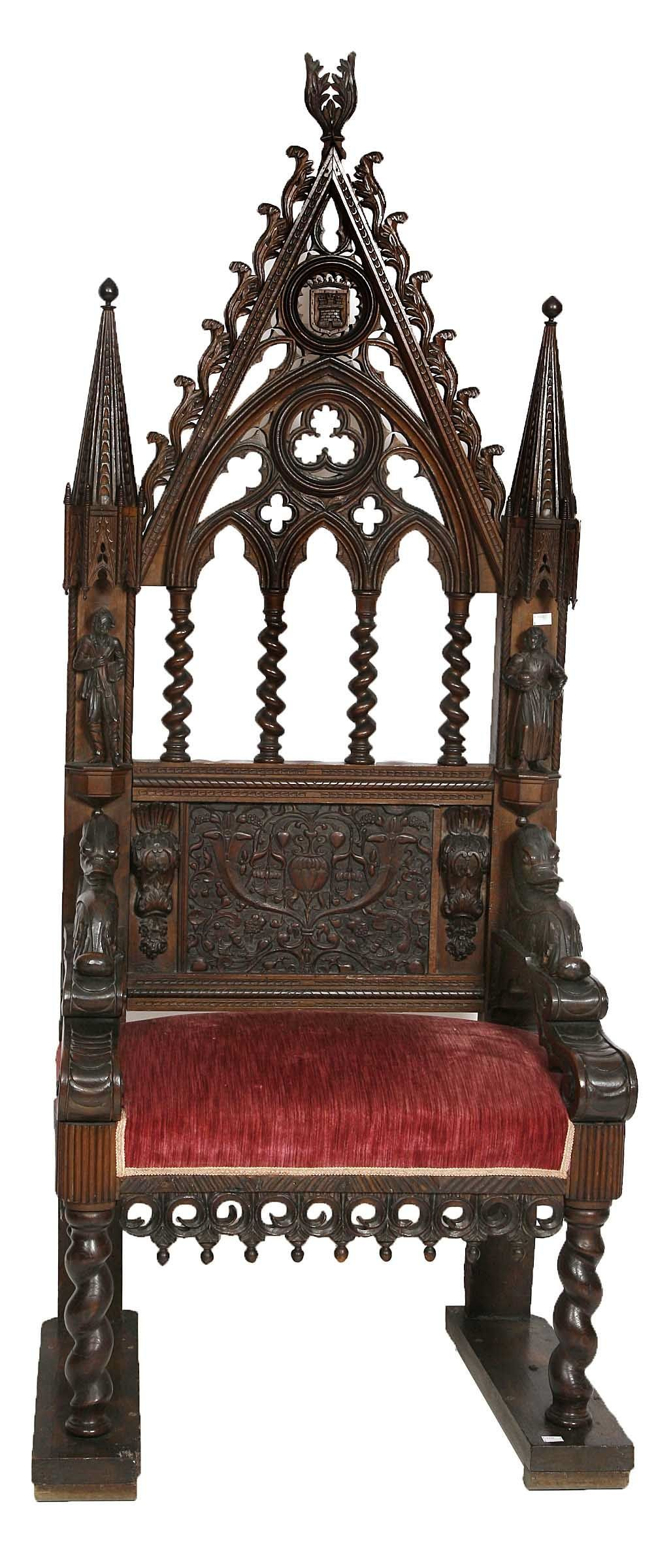 Gothic furniture chair - A 19th Century Carved Oak Gothic Throne Chair 2 000 3 000