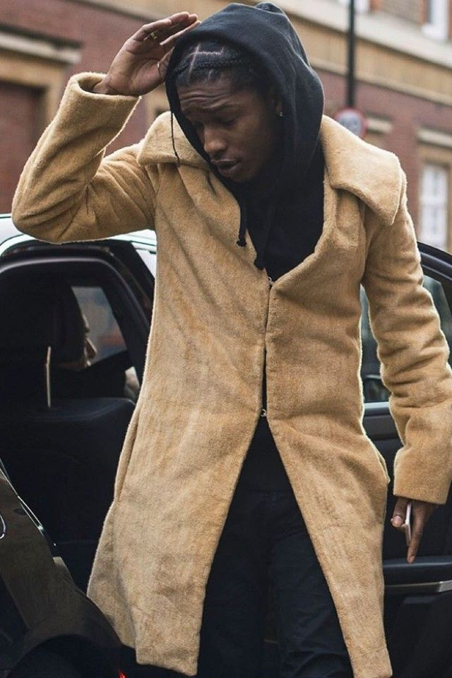 ad6f3d5b332 ASAP Rocky wearing J.W. Anderson Furry Spread Collar Coat