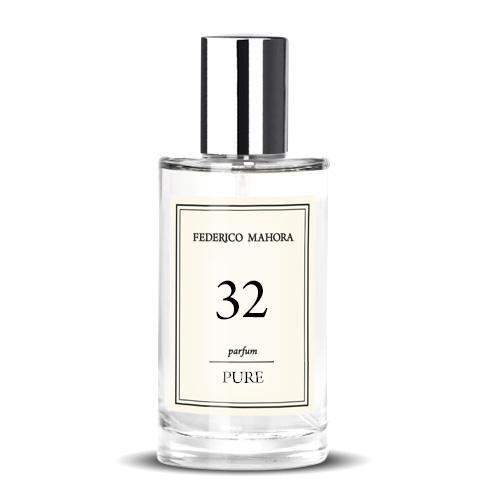 """PURE 32 Parfum is an ethereal and heavenly fragrance that is fascinating and ambiguous, it's as if it has arrived direct from the heavens! From its enticing fruity top notes to its sweet heart all the way to its seductive base this is the perfect fragrance for all day wear. Fragrance notes: Top Notes: Melon, Coconut, Tangerine and Candy Floss Heart Notes: Blackberry, Mango, Plum and Honey Base Notes: Vanilla, Chocolate and Toffee. If you love """"Angel"""" you will fall head over heels for PURE 32! In"""