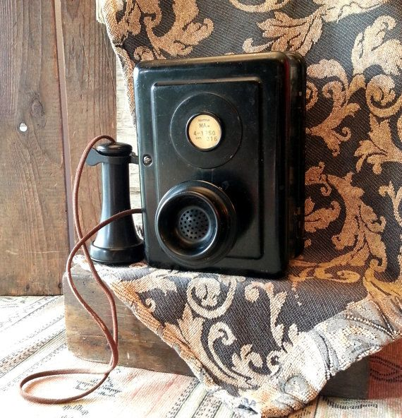 1920's Black Metal Wall Phone - Intact Antique Telephone From Seattle WA #wallphone