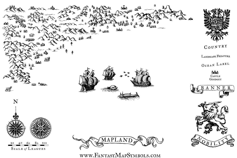 Fantasy Map Symbol Set 1 Illustrator Png Fantasy Map Symbols Map Symbols Fantasy Map Fantasy Map Making