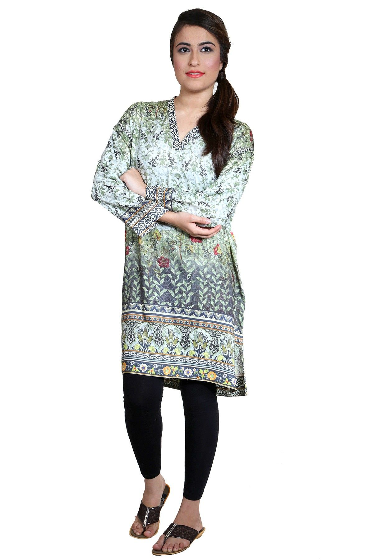 04d5ec5b1c5c Printed grey stitched ready to wear kurti by Alkaram Dresses 2018   wintercollection  blackfriday