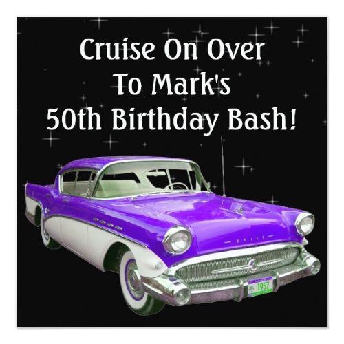 Purple Classic Muscle Car Birthday Bash Card