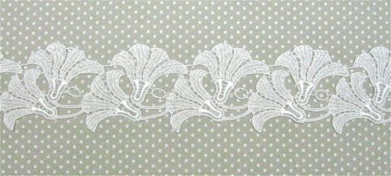 Venice Lace Morning Glory Glories  White by Cathyscrazybydesign