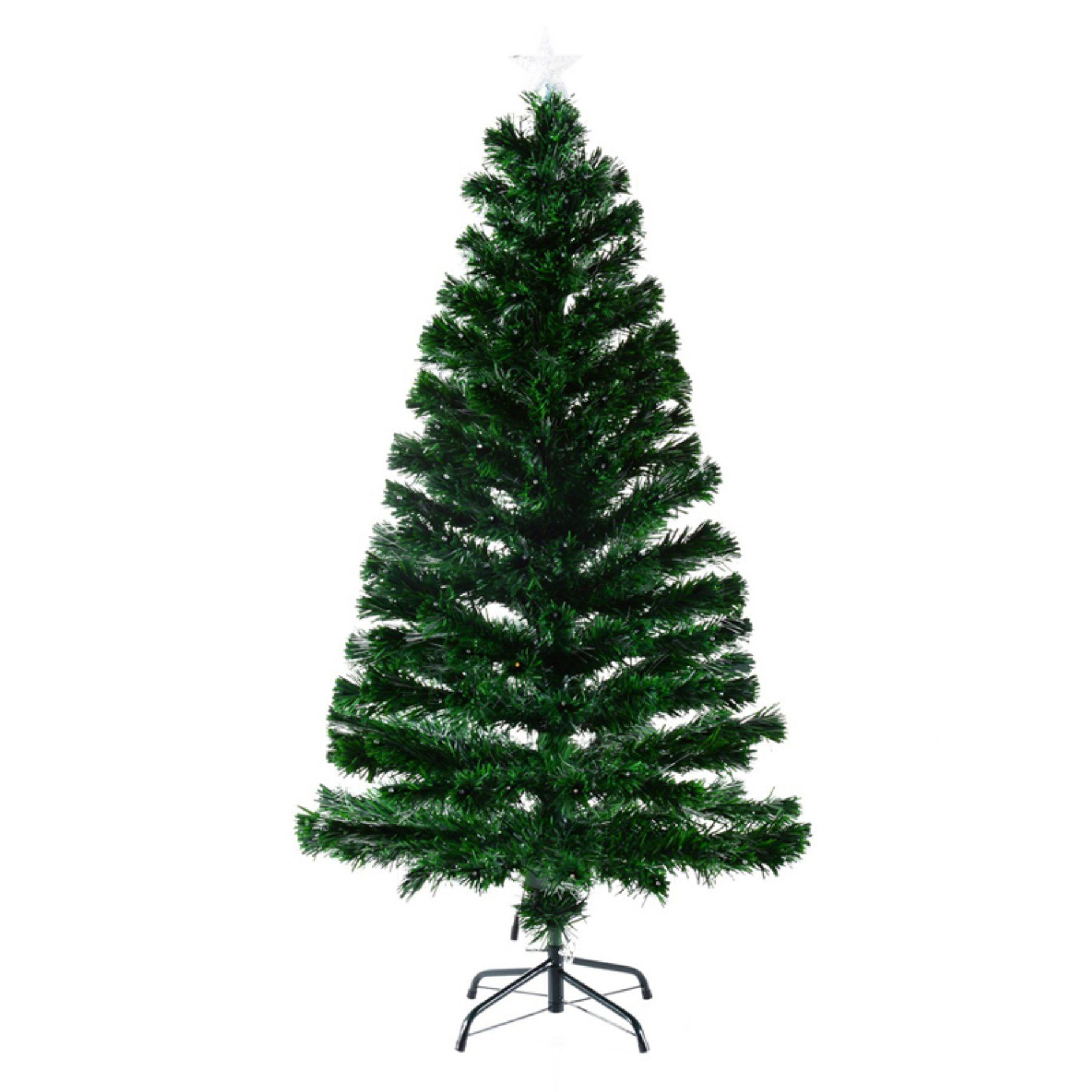 Pre Lit Warm White Led Artificial Christmas Tree With Fiber Optic