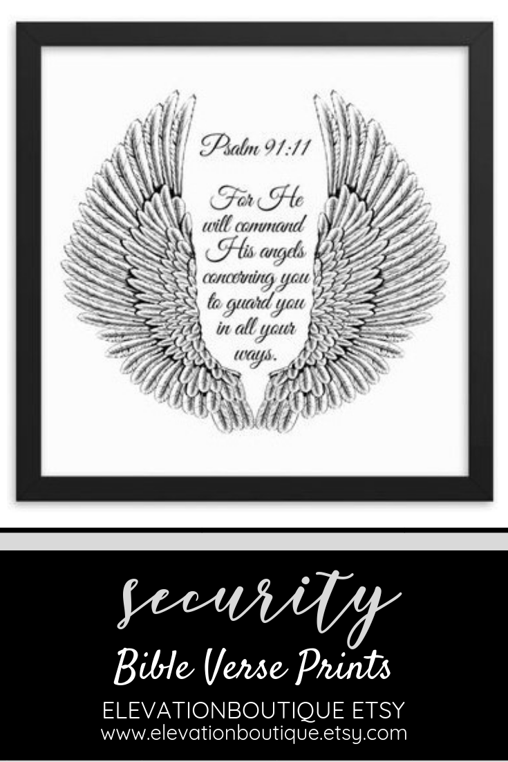 Angel Wings Wall Art And Bible Verse Prints Psalm 91 11 Etsy Psalm 91 11 Bible Verse Prints Psalm 91