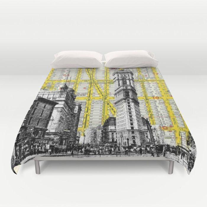 New York Times Square Vintage Urban Mid Century 1900's - NYC Map Background Duvet Cover