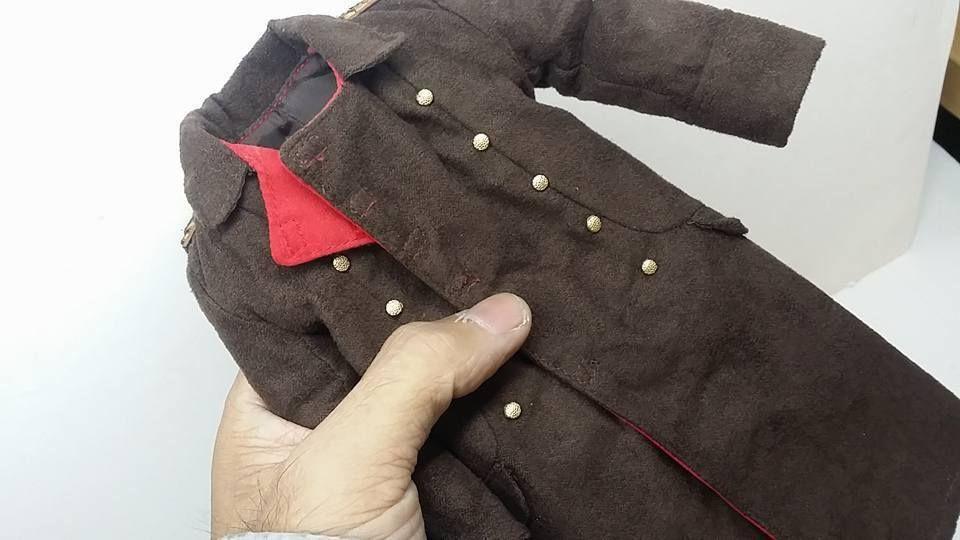 1//6 custom casual wear series Zip up suede jacket black for 1//6 figure