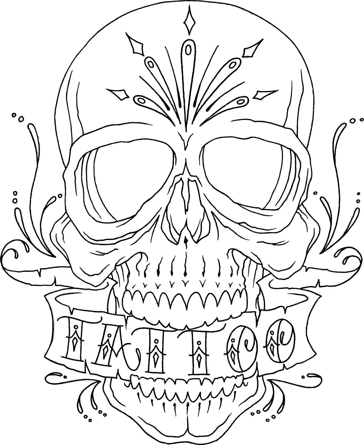 Skull Tattoo Line Drawing Skull coloring pages