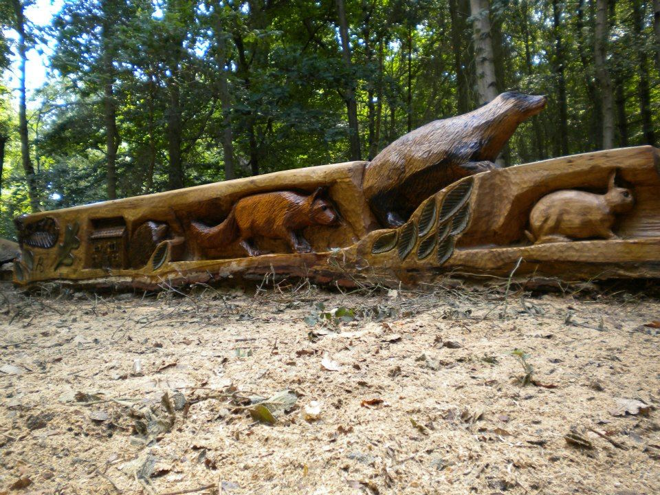 Chainsaw Carved Oak Animal Bench Chainsaw Carved Outdoor