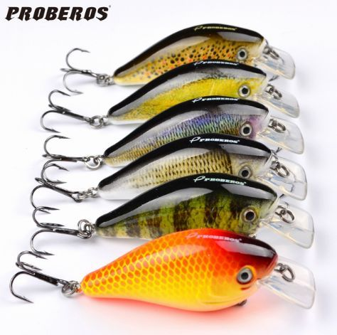 "Proberos Brand Fishing Lure 3""-6 Color Fishing Tackle 6# Hook"