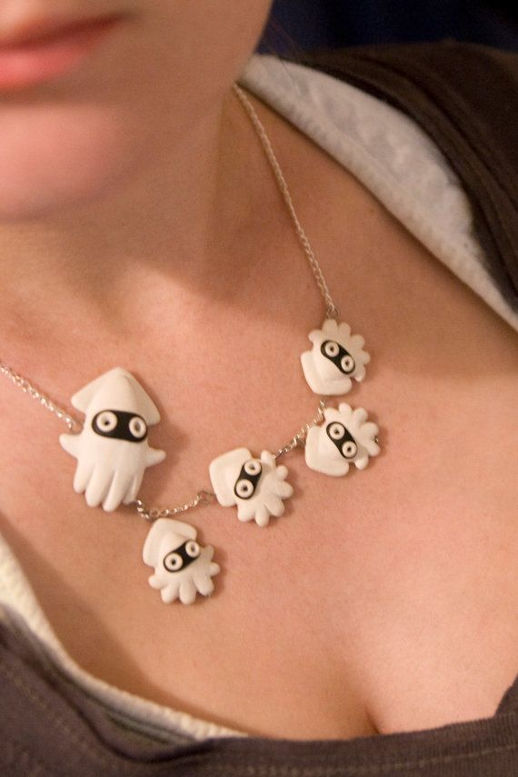 Nintendo Bloopers Squid Necklace Mario by lizglizz