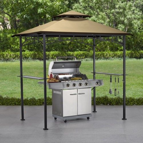 Sunjoy 5 X 8 Ft Replacement Canopy Cover For L Gg001pst D Led Light Grill Gazebo Dark Brown Sesame