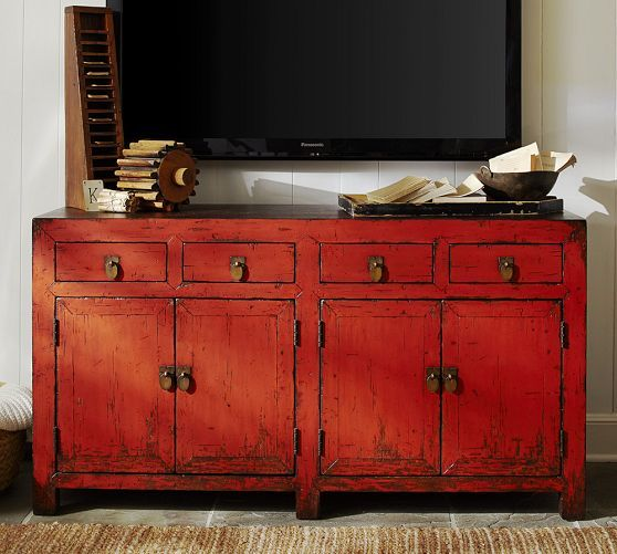This Rustic Red Looking Console From Pottery Barn Is Just The Right Amount Of Description Dogeardecor I Searched For On Bing Images