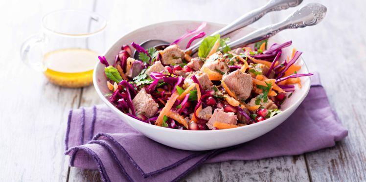 Salade d'agneau vitaminée au chou rouge et carottes #saladeautomne Salade d'agneau vitaminée au chou rouge et carottes #saladeautomne