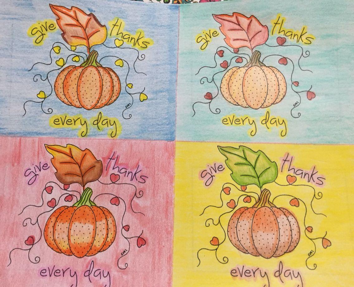 Thanksgiving coloring post cards Tarjetas para colorear de Acción de ...