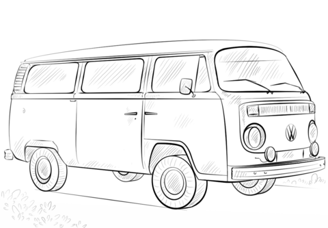 VW Bus Ausmalbild  Hochzeit  Auto zeichnen Auto