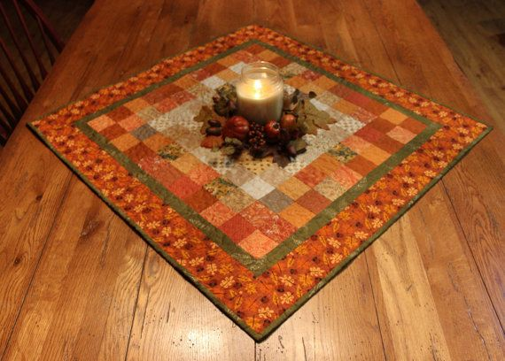 Fall Table Runner Topper, Autumn Table Runner Topper, Harvest Table Runner  Topper, Square Table Topper, Quilted Fall Table Runner Topper