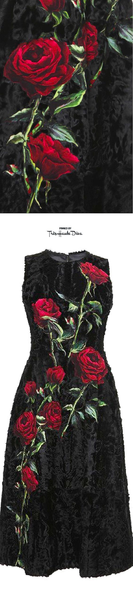 Dolce & Gabbana Fall 2015 Black Sleeveless Lamb Fur Dress With Rose ♔THD♔: