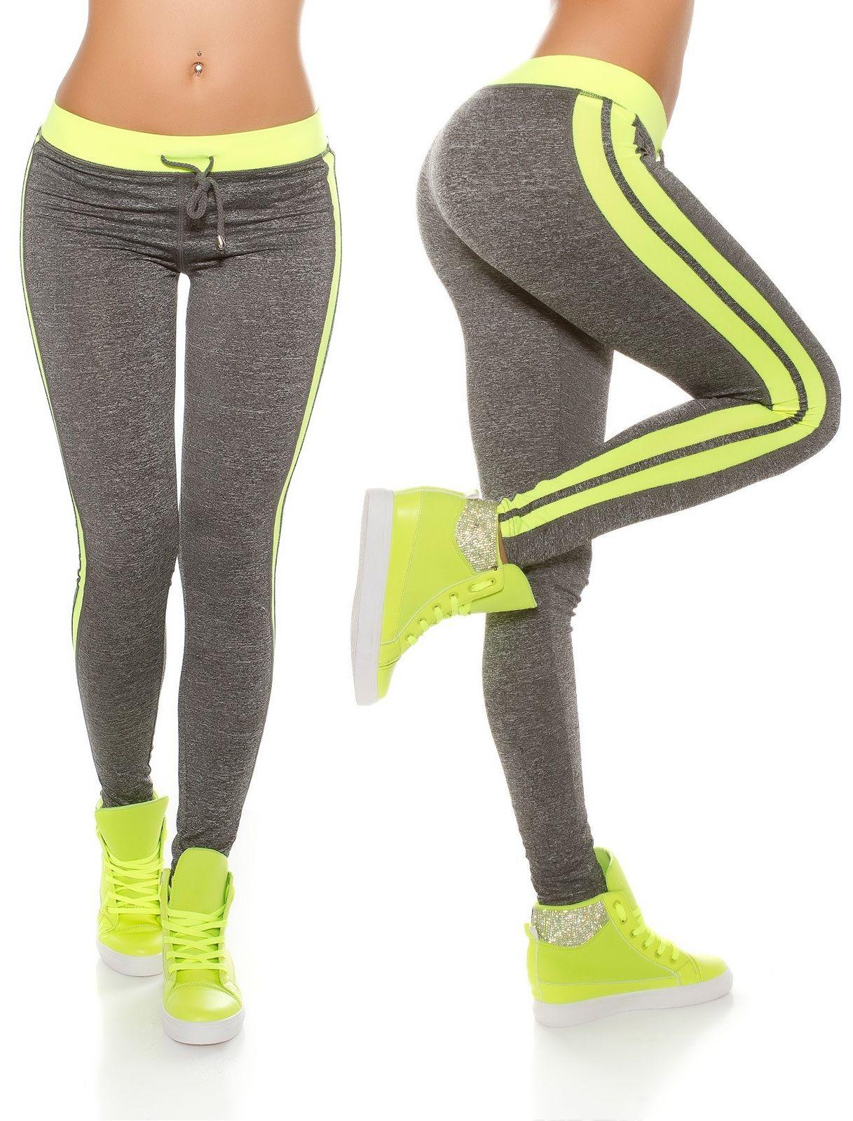490e27240d Sportos leggings oldalán és derekén színes csíkkal. Anyaga: 85% Polyamide /  15%