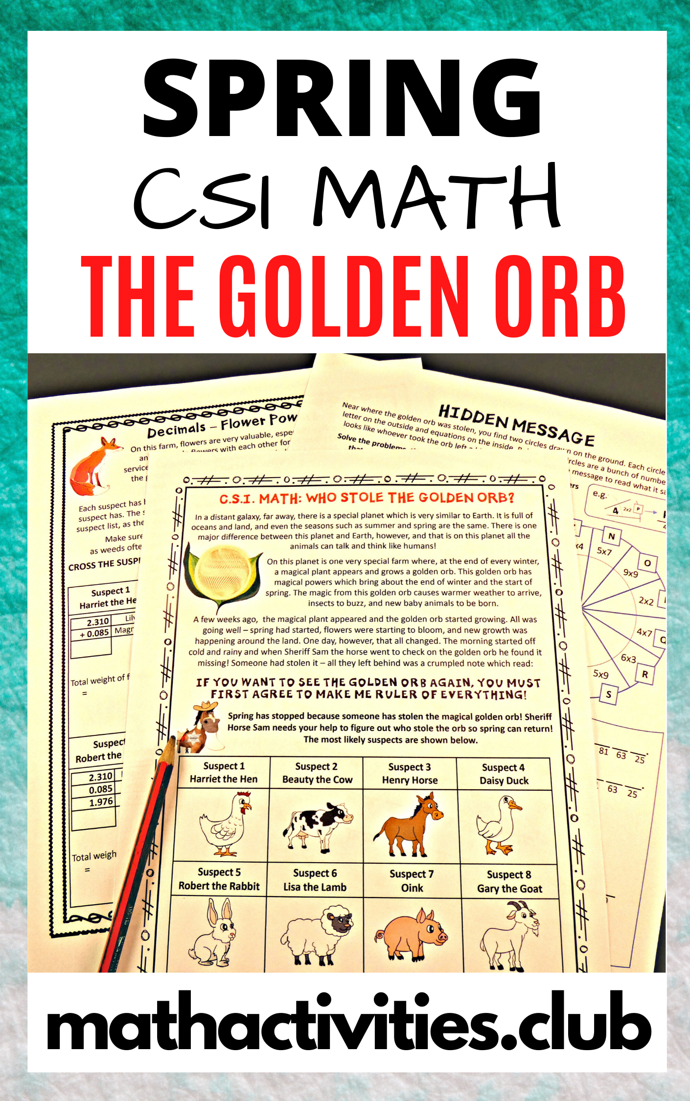 Spring Math Activity Who Stole The Golden Orb A Fun Csi