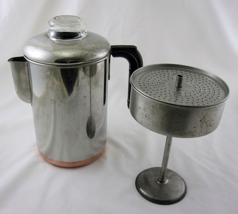 Revere Ware Copper Clad Stainless Stove Top Coffee Pot Percolator Vintage Stove, Ware F.C. and ...