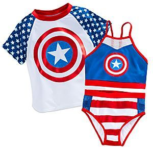 Your aquatic super hero will take a dive into the role of Captain America with this 3-piece swim set. With the three pieces decorated in signature character details, beach play just got patriotic