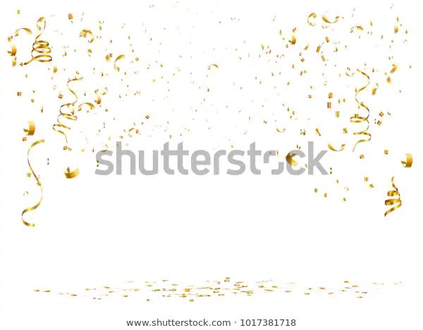 Celebration Background Gold Confetti Gold Ribbon Stock Vector Royalty Free 1017381718 Celebration Background Gold Confetti Gold Ribbons