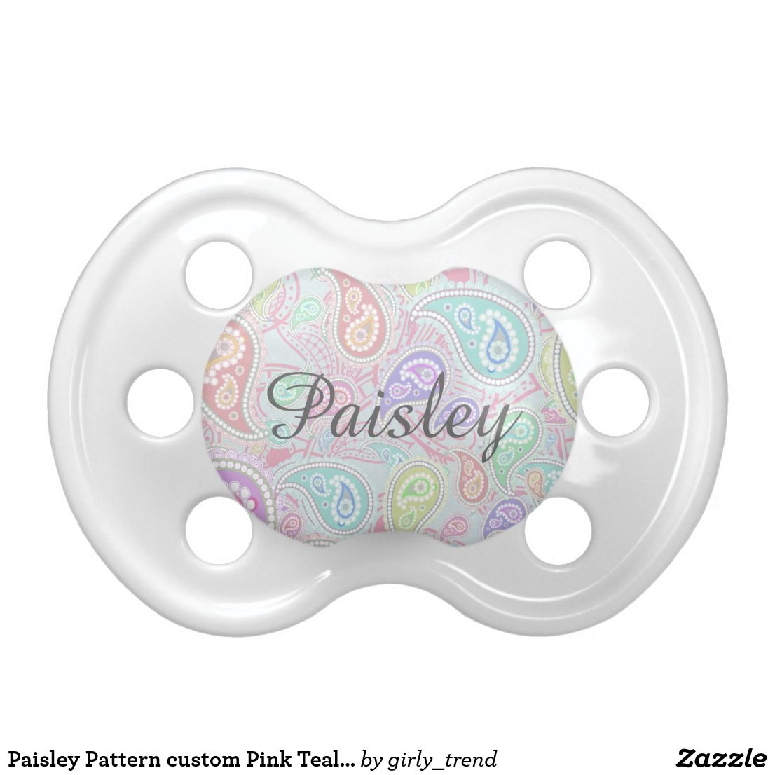 39820be5d Paisley Pattern custom Pink Teal Floral Swirl Pacifier