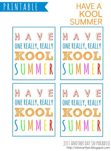 Have A Kool Summer Printables With Images Summer Printables