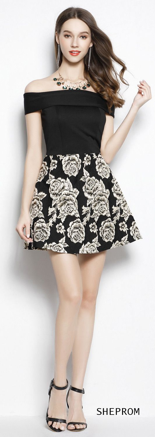 Black off the shoulder fit and flare short dress dk