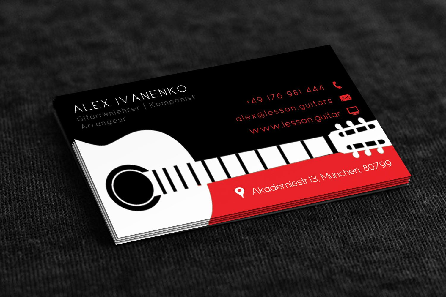 Business Card Design By Stream Graphics For Guitar Teacher And Composer Needs A Busine Music Business Cards Design Teacher Business Cards Business Card Texture
