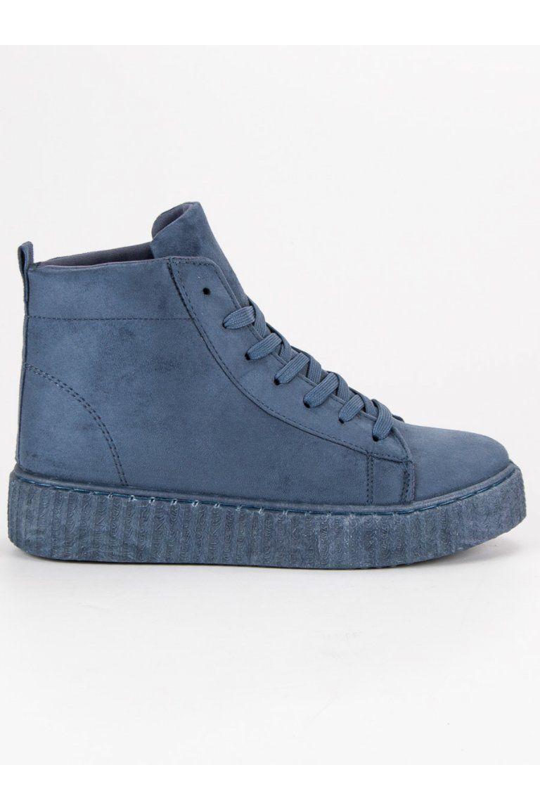 59f5330158b2 Modré tenisky členkové semišové topánky creepers Wilady HX-002BL ...