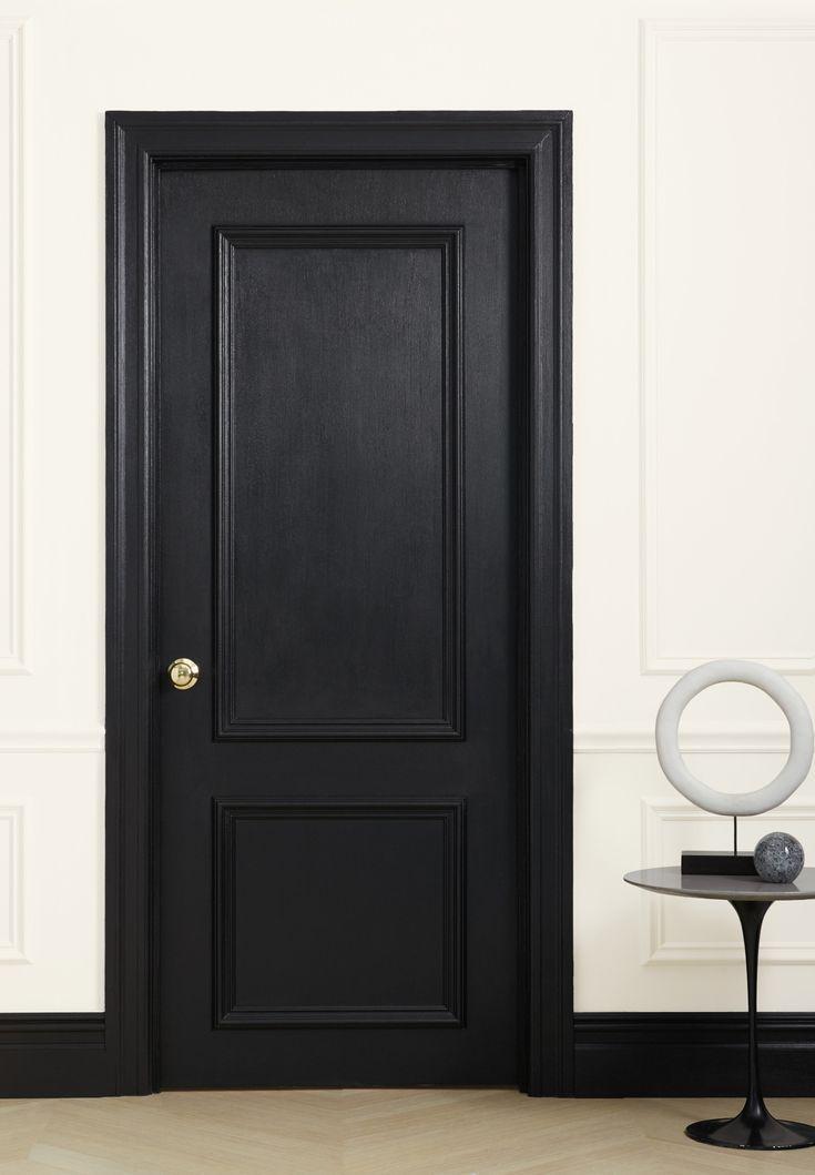 Door Painted In Clare Trim Paint Blackest An Edgy And Dramatic Black Clare Paint Painting Door Design Interior Black Interior Doors Wood Doors Interior