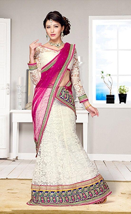 Designer White and Pink Net and Brasso Lehenga Choli by ShreeSakhi, $119.00