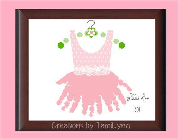 TuTu Polka Dot Handprint Art  Personalized by CreationsbyTamiLynn, $20.00