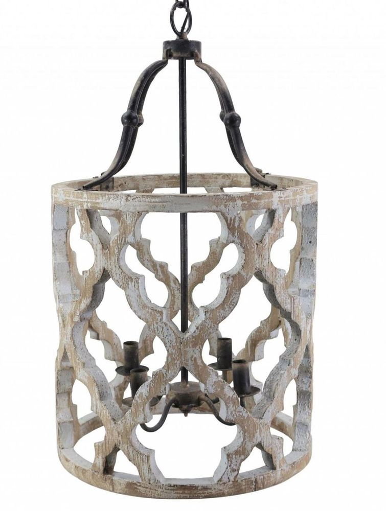 Rustic french boho anthropologie style white gray washed wood drum rustic french boho anthropologie style white gray washed wood drum chandelier aloadofball Image collections