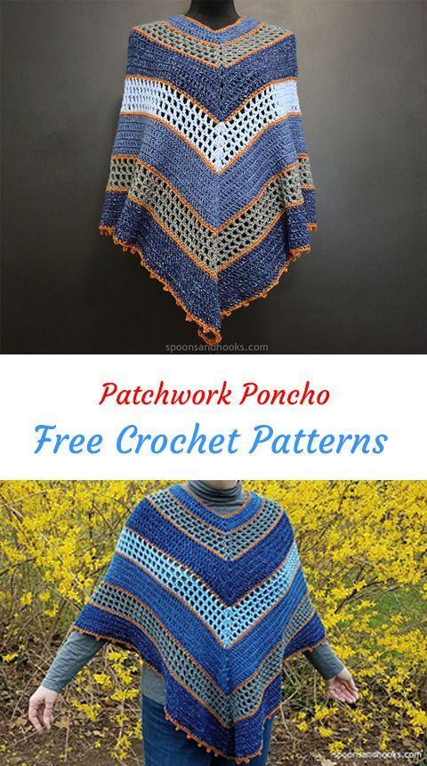 Patchwork Poncho Free Crochet Pattern Crochet Crafts Handmade Homemade Style Fashion
