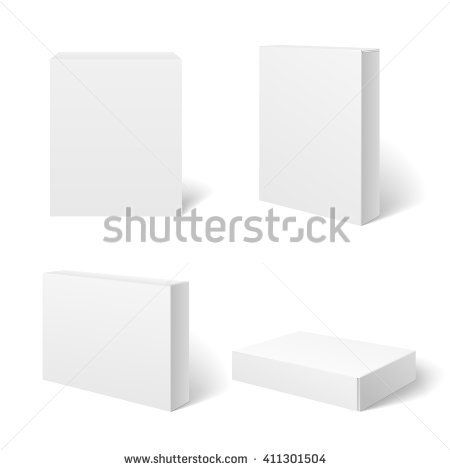 white blank cardboard package box in different positions vector
