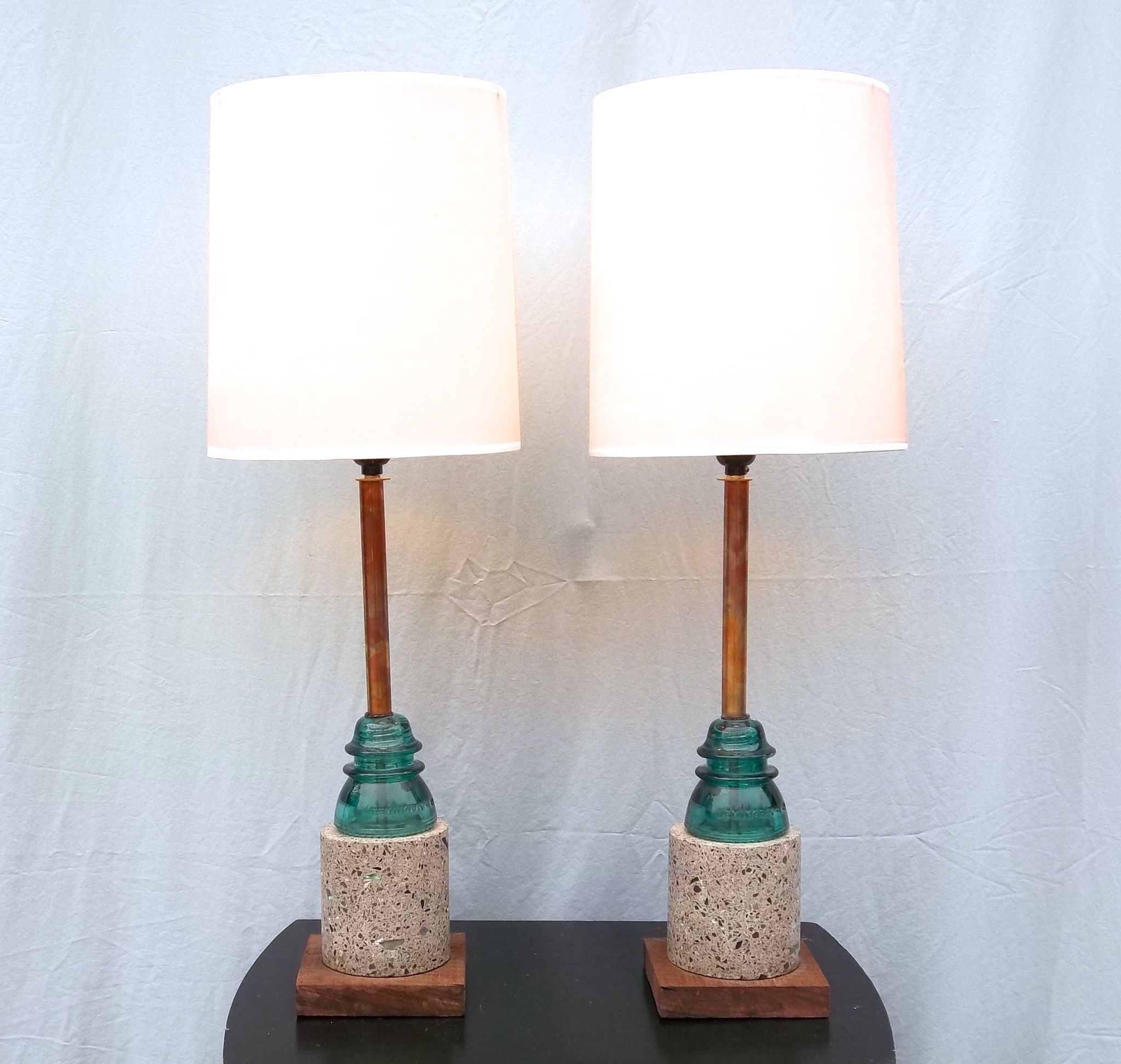 Glass insulator pendant light kit feed - This Pair Of Copper Concrete And Glass Insulator Lamps Went To Australia