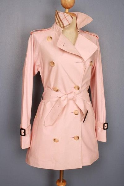 Womens BURBERRY bespoke short trench coat mac PINK - size UK 4/6 ...