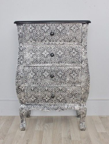 Mirror And Painted Bedside Table: Blackened Silver Small Embossed Chest Drawers Or Bedsides