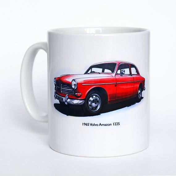 Classic Car Mug. Volvo Amazon and 122S shield badge hand drawn illustrations.