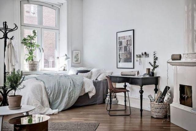 Een slaapkamer met werkplek interior cool