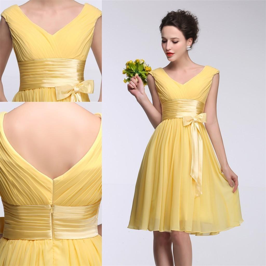 Elegant Daffodil Yellow 2015 Bridesmaid Dress