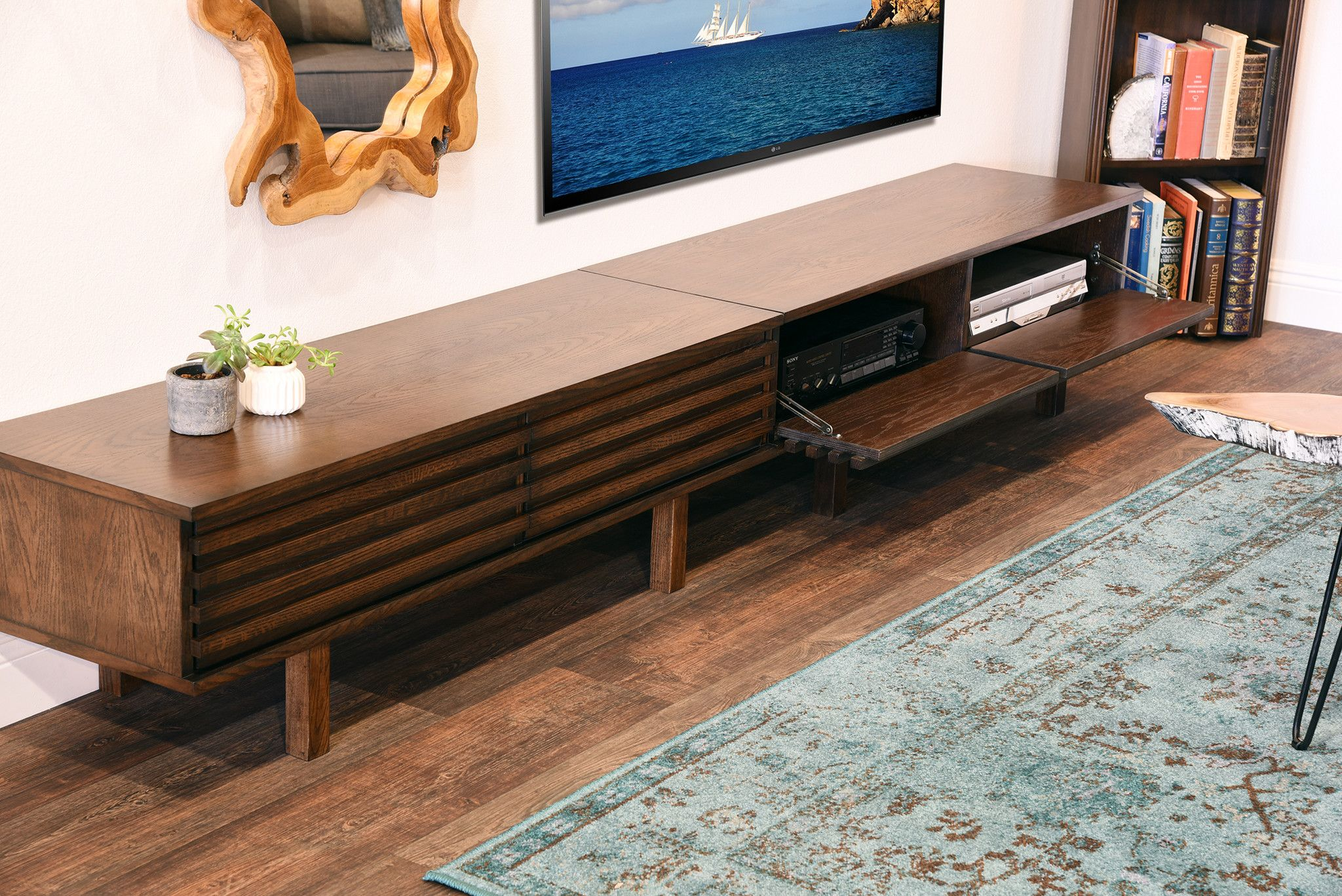 Unique Low Profile Media Console Modern Staggered Credenza Lotus Espresso Woodwaves
